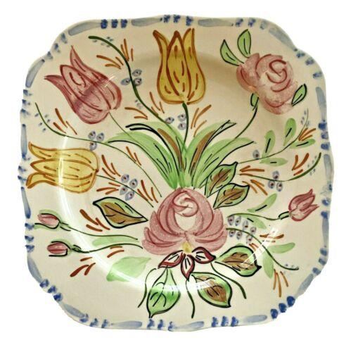 Blue Ridge Pottery Plate Square Vintage Mid Century Nove Rose Rare Farmhouse