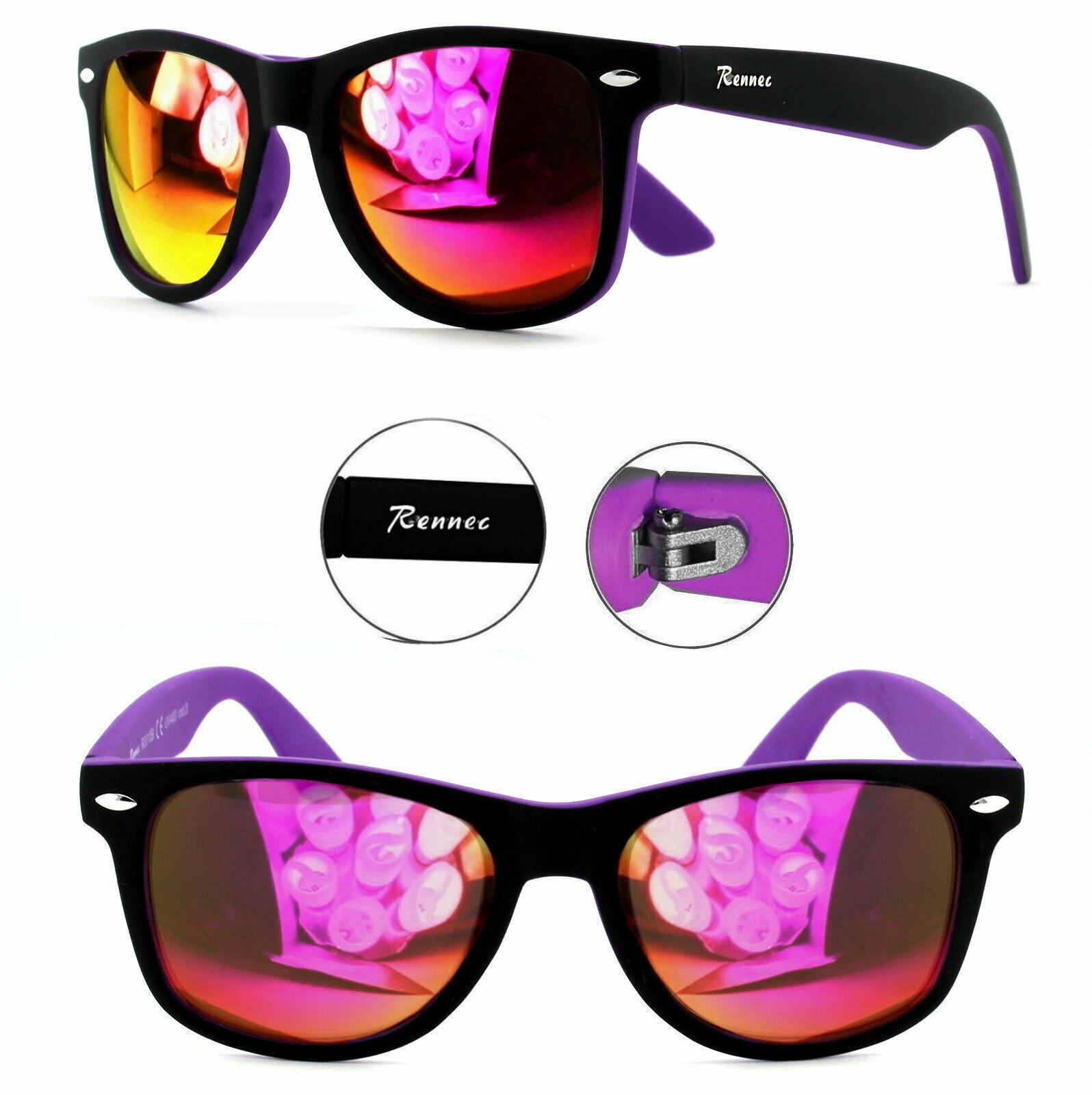 Rennec Sonnenbrille Nerd Retro Bi Color Lila Rot Verspiegelt Brillenbeutel R10