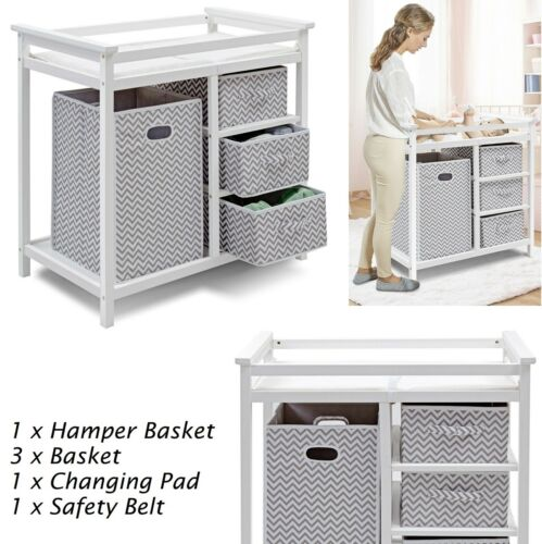 Changing Table With Drawer Basket Set Dresser Baby Changing Pad Infant Nursery