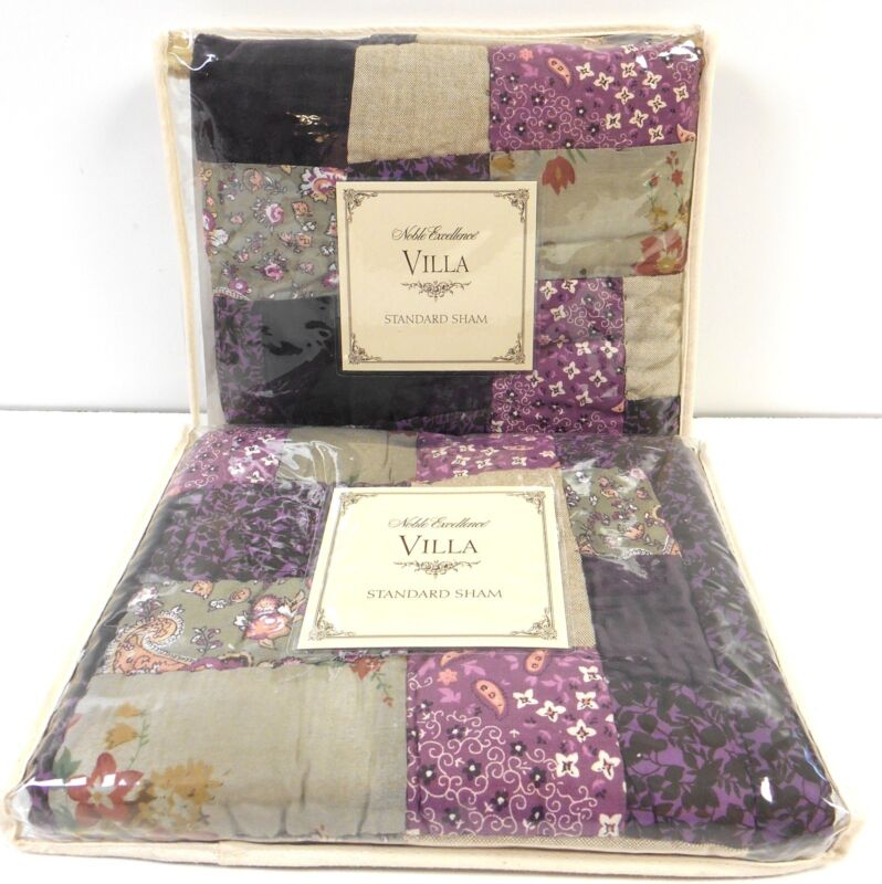 NOBLE EXCELLENCE Hannah TWO STANDARD SHAMS NWT purple patchwork