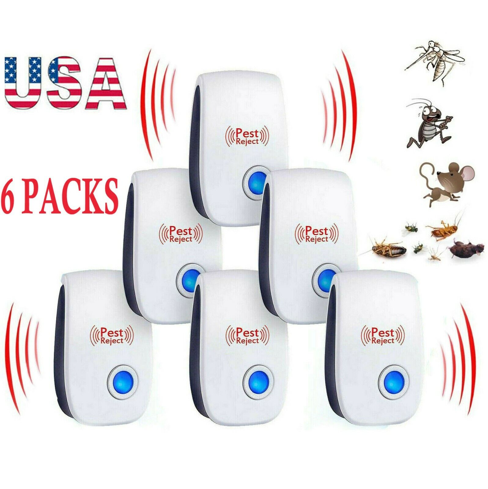 USA 6 PACK Ultrasonic Pest Repeller Reject Mice Insect Mosquito Cockroach Killer Home & Garden