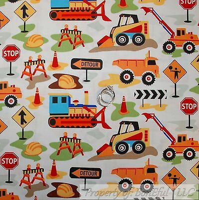 BonEful Fabric FQ Cotton Quilt White Red Yellow B&W Construction Truck Stop Sign