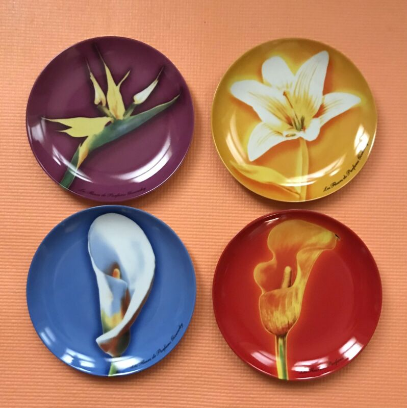 "Beautiful Givenchy Parfums Porcelain 4 Floral Dessert /Salad Plates 8.25"""