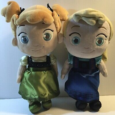 Disney Store Frozen Baby Elsa & Anna Stuffed Plush Animal Toy Dolls Lot of 2