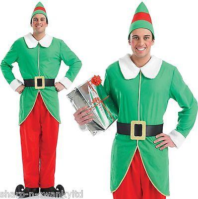 Herren Weihnachtselfe Santa's Helfer Party Kostüm Outfit M, L & XL