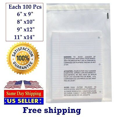 Poly Plastic Packaging Bags 400 Clear Combo With Suffocation Warning 6x9 Seal