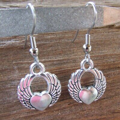 NEW Harley Girl's Tribal Small Winged Heart Charm Earrings