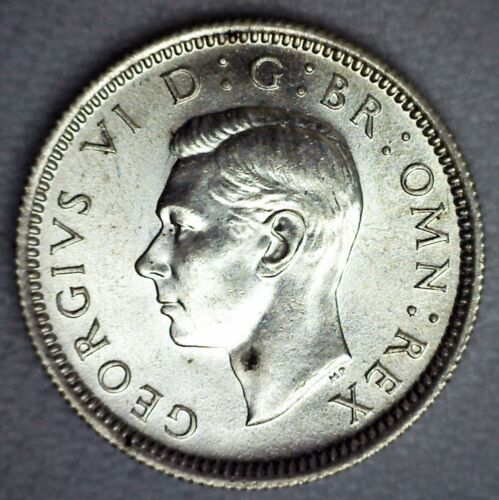 1944 Great Britain Silver 6 Pence Coin Uncirculated George VI UK  Sixpence