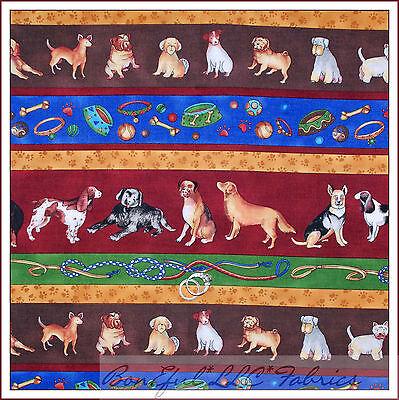 BonEful Fabric FQ Cotton Quilt Dog Breed Leash Ball Bowl Stripe Paw