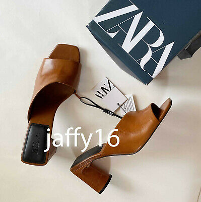 ZARA NEW WOMAN ASYMMETRIC LEATHER MID-HEEL MULES SHOES BROWN 35-42 1313/510