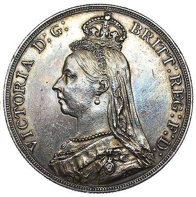 1889 CROWN - VICTORIA BRITISH SILVER COIN - V NICE
