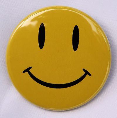"YELLOW HAPPY FACE - Button Pinback Badge 1.5"" Smiley Hippie"