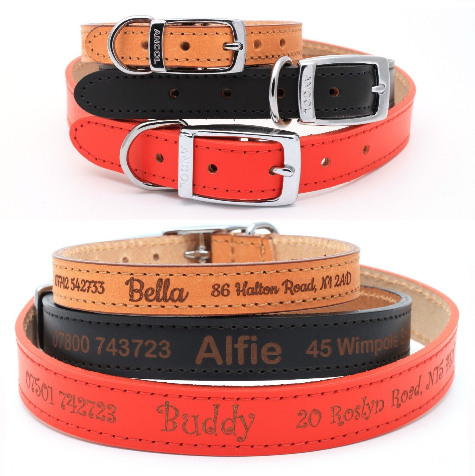 Dog Collar BLACK stitched Real Leather Great Value 21mm 7//8 All Sizes W2N