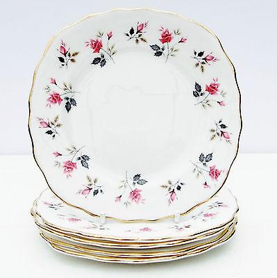 Vintage Royal Osborne Bone China Set 5 Tea Plates Pink Roses