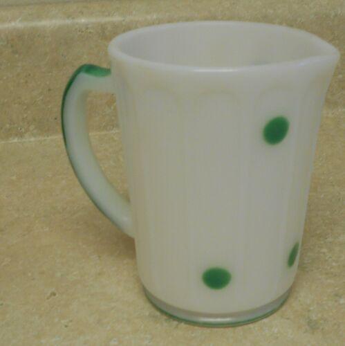 Mckee  Milk Glass Hazel Atlas Green Polka Dot Pitcher