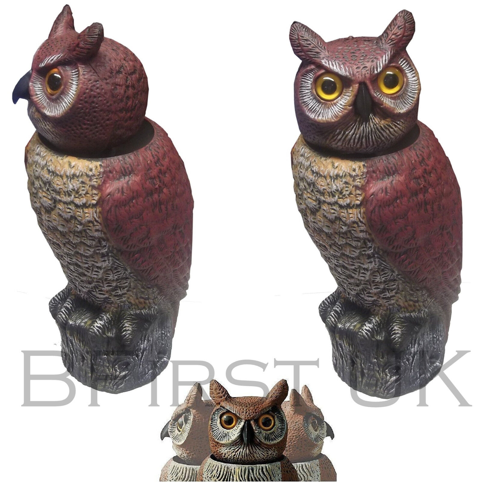 Owl Statue Decoy Deterrent Outdoor Garden Wind Activated