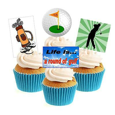 Neuheit NEU!! Golf/Golfer Mix 12 Eßbar Aufrechtstehend Papier Kuchendekoration