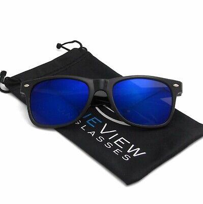 Wayfare Sunglasses Retro Black Frame Blue Reflective Lens Classic for Men Women ](Blue Sunglasses)