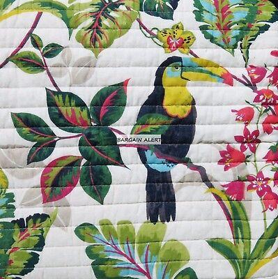 BIRDS TREES TROPICAL RAINFOREST 3PC KING QUILT ~ PINK GREEN BLUE PARROT NEW