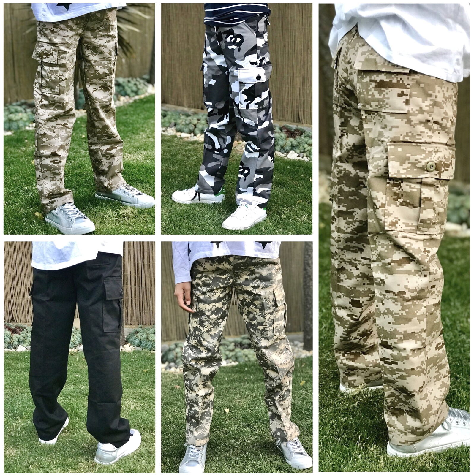 Boys Girls Kids Teens Army Ranger Camping Scout Camo Cargo Pants Trousers