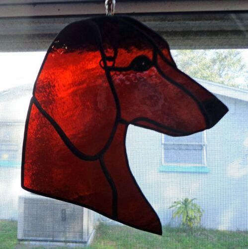 STAINED GLASS DOG - DACHSHUND -smooth - RED