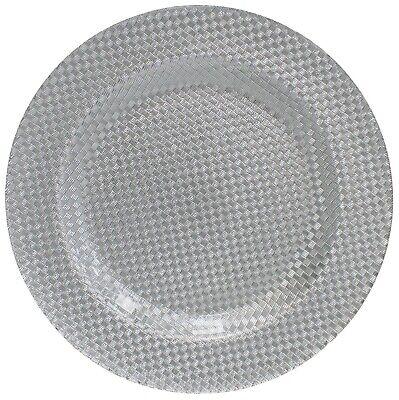 Cristal Grande Bandeja para Servir Cargador Placa Decorativa Plata 33cm de