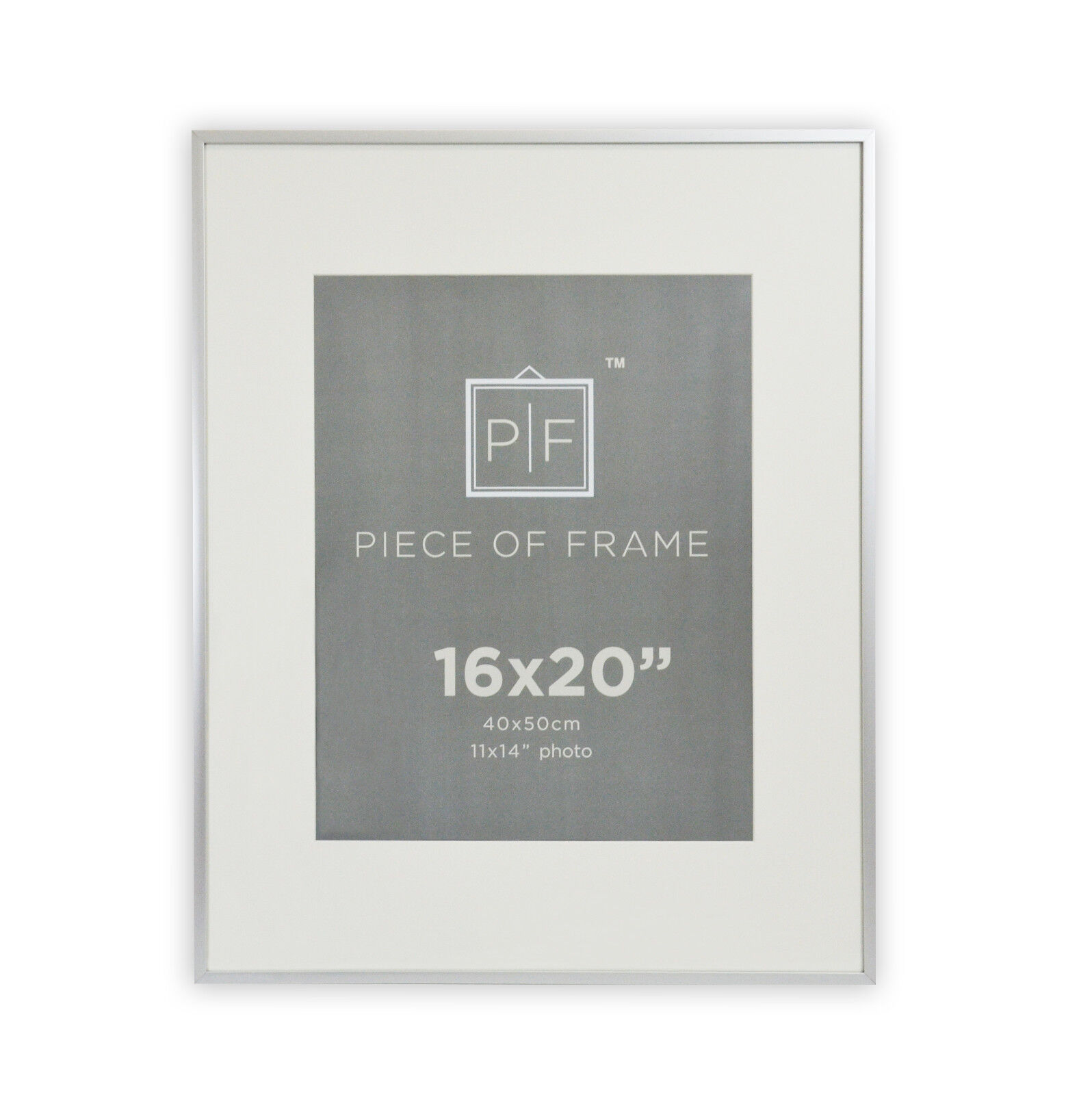 16x20 Aluminum Silver Photo Frame, with Ivory Mat for 11x14