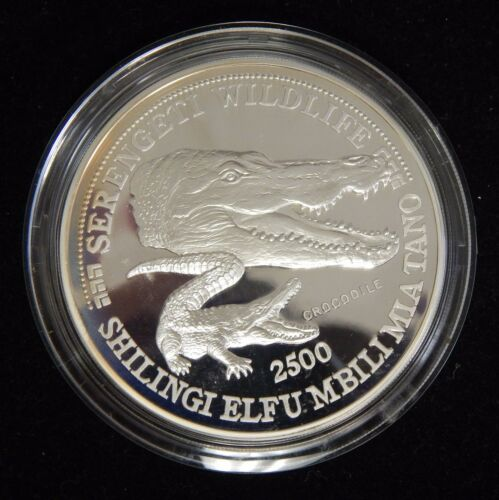 1998 Tanzania Serengeti wildlife Series Crocodile Silver 5 oz Proof