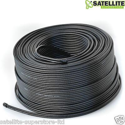 100m Black Twin Satellite Shotgun Coaxial Coax Cable Lead 4 Sky Plus HD Freesat