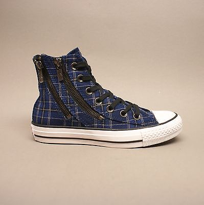 Converse Plaid Sneakers (Converse All Star Chuck Hi Dual Zip Plaid Navy 549573C Sneakers blau kariert )