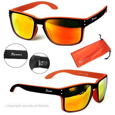 Rennec Sonnenbrille Verspiegelt Nerd Rechteckig matt schwarz Orange Bi Color VB2