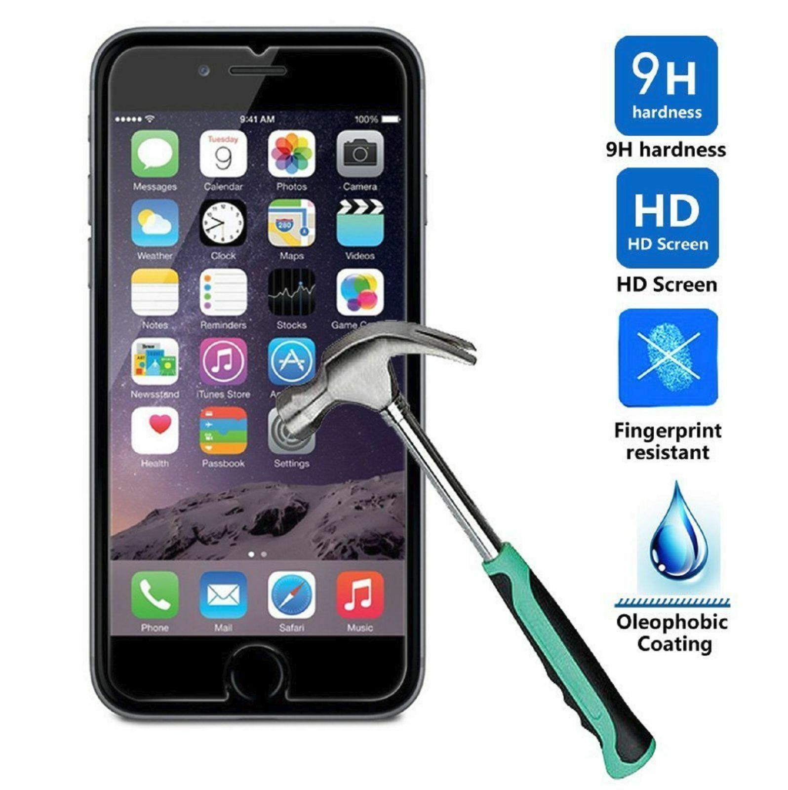 Premium Screen Protector Real Tempered Glass Film for iPhone 8 8 Plus & X 6 6s 7