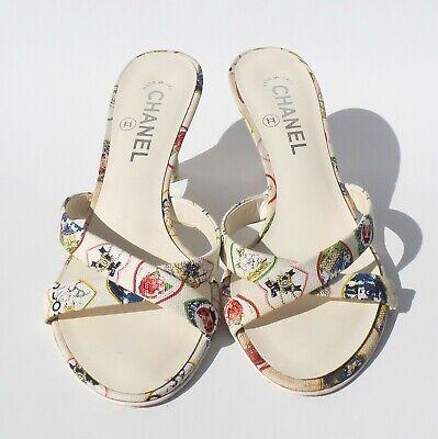 Valentine Wedge - CHANEL 06P Valentine's Ivory Multi Heart Canvas Wedge Silver CC Heel Sandals 38