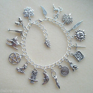 Wiccan Pagan Silver Pentagram Green Man Chalice Charm Bracelet - Goddess Witch