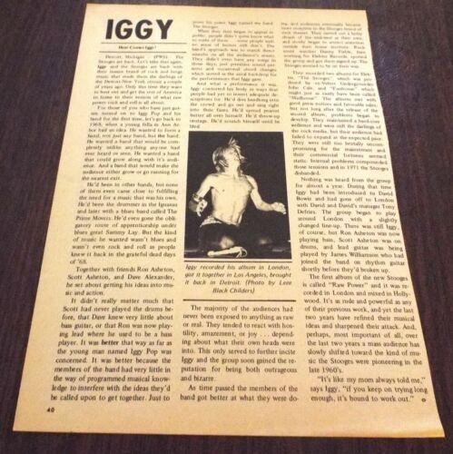 "IGGY POP 1973 ""ROCK SCENE"" Magazine Clipping Rare Lee Black Childers Live Photo"