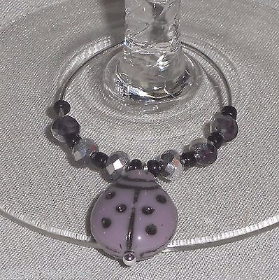 Porcelain Lavender LADYBUG & Crystals Napkin Beverage Wine Glass Charms