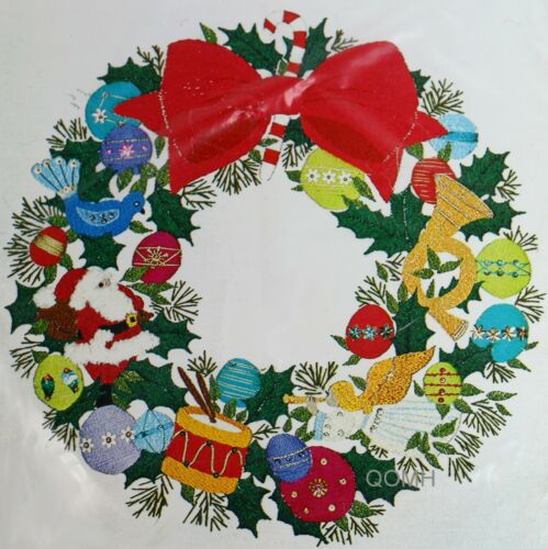 CHRISTMAS WREATH Vtg Crewel Kit 1976 Titian Holiday Stitchery Antique Satin