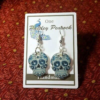 Sugar Skull Earrings (Sugar Skull Earrings Blue Floral)