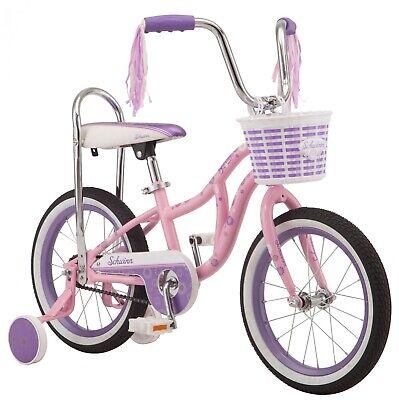 Schwinn Bloom kids bike, 16-inch wheel, training wheels, girls, pink, banana sea