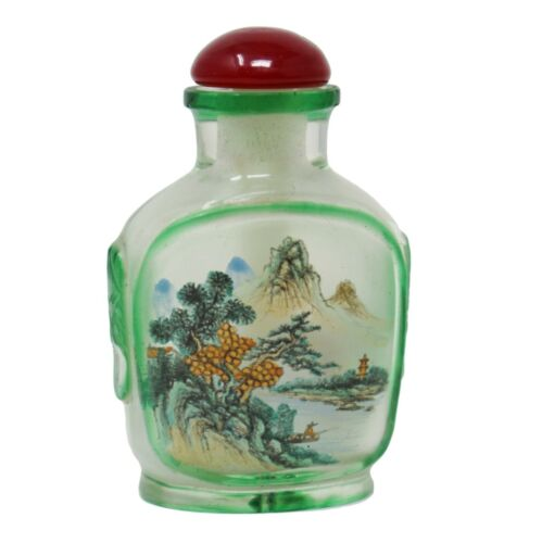 Vintage Chinese Japanese Internally Painted SNUFF BOTTLE Frosted Glass Leopard