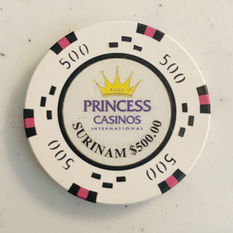 PRINCESS CASINO, SURINAME , RARE $500 CHIP,  S.A. CARIBBEAN SEA