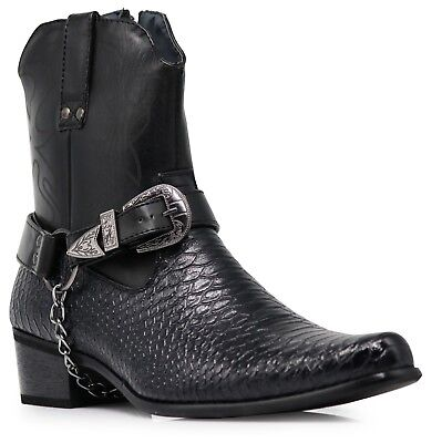 Men Black Cowboy Western Boots Shoes Leather Line Motorcycle Crocodile Print JPN