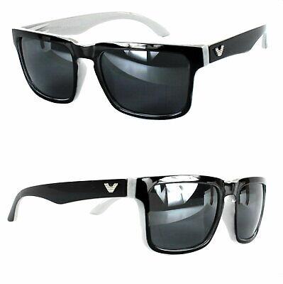 Rechteck Sonnenbrille Nerd Grau Schwarz Bi Color Herren Black Shiny Edition V1