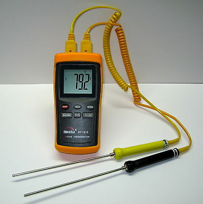 Digital Industrial K-type Thermocouple Thermometer Hvac 2x Stainless Steel Probe