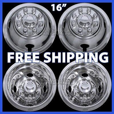 "4 for DODGE 16"" Dual Steel Wheel Simulators Dually 8 Lug Rim Skins Liners Covers"