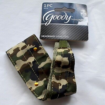 New Goody Fashion Now Headband Headwrap Camo Green Gold Studs Wide Stretch Band