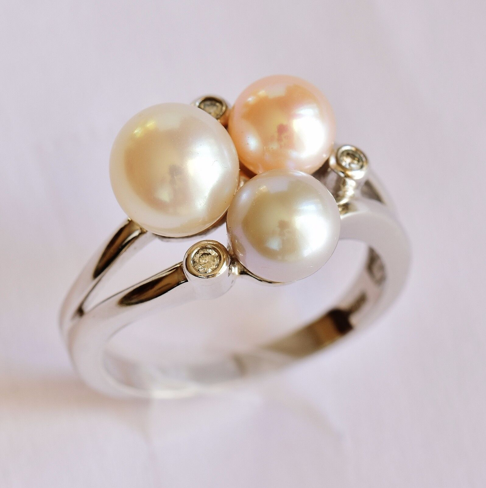 14k White Gold Genuine AAA 9.5-10mm White Cultured Pearl Diamonds Cocktail Ring