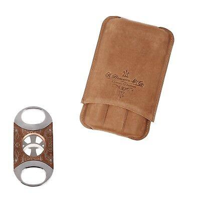 Tan Leather Cigar - Gurkha Genuine Tan Leather 3 60 R Cigar Case Copper Stainless Steel Cigar Cutter