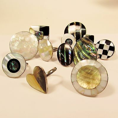 12 PCS  Assorted Styles Mother of Pearl Shell Adjustable Rings WHOLESALE LOT