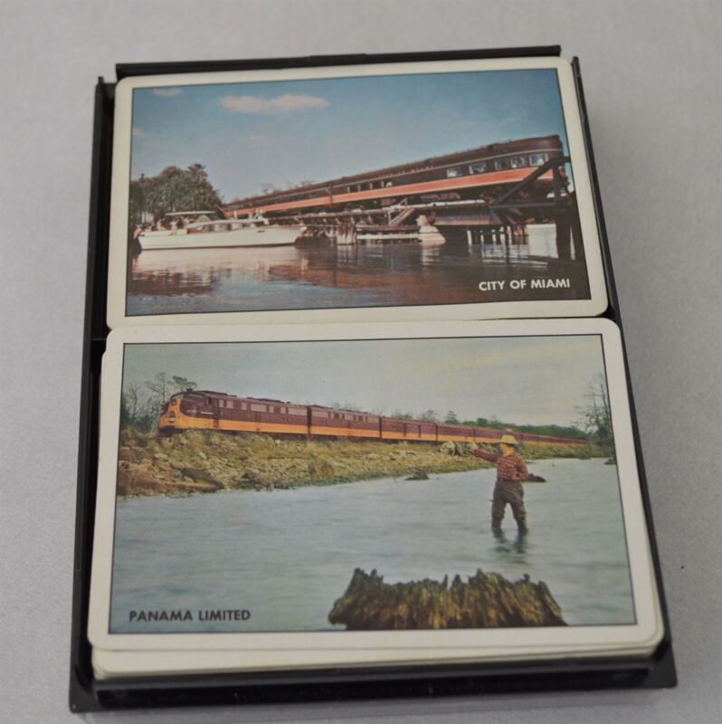 Vintage Double Deck Illinois Central Railroad Playing Cards in Box